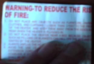 warning heater cord