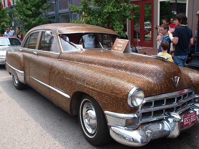 Cadillac covered with pennies