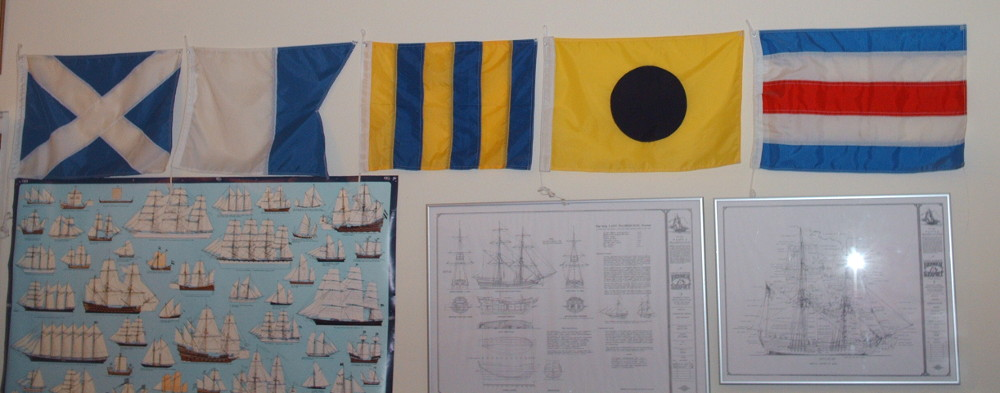 Bob's boat name in signal flags