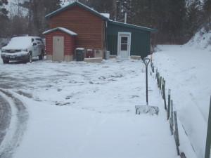 shoveled parking lot